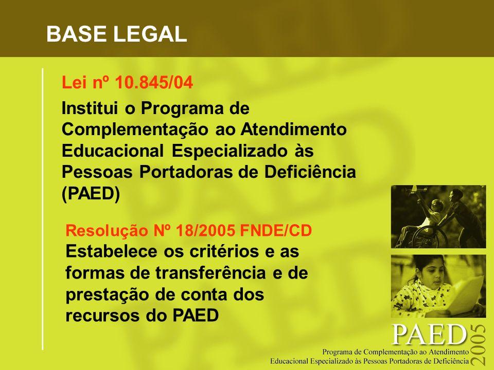 BASE LEGAL Lei nº 10.845/04 Institui o Programa de Complementação ao Atendimento Educacional Especializado às Pessoas Portadoras de Deficiência (PAED)