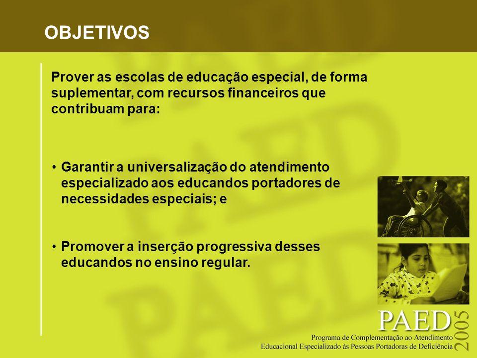 OBJETIVOS Garantir a universalização do atendimento especializado aos educandos portadores de necessidades especiais; e Promover a inserção progressiv