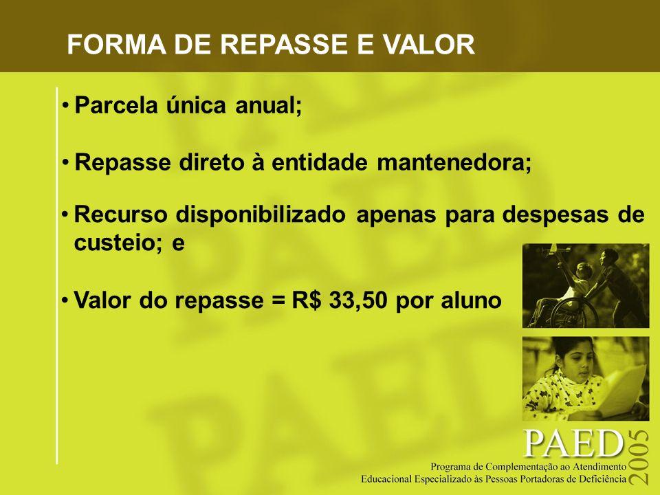 FORMA DE REPASSE E VALOR Parcela única anual; Repasse direto à entidade mantenedora; Recurso disponibilizado apenas para despesas de custeio; e Valor