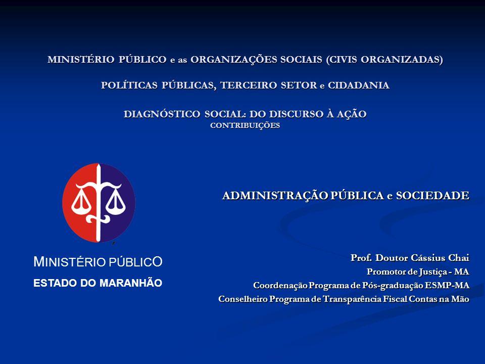 MINISTÉRIO PÚBLICO e as ORGANIZAÇÕES SOCIAIS (CIVIS ORGANIZADAS) POLÍTICAS PÚBLICAS, TERCEIRO SETOR e CIDADANIA DIAGNÓSTICO SOCIAL: DO DISCURSO À AÇÃO