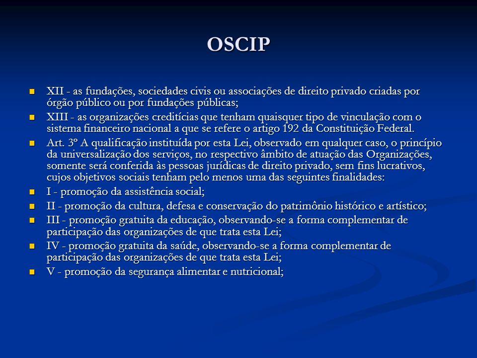 OSCIP XII - as fundações, sociedades civis ou associações de direito privado criadas por órgão público ou por fundações públicas; XII - as fundações,