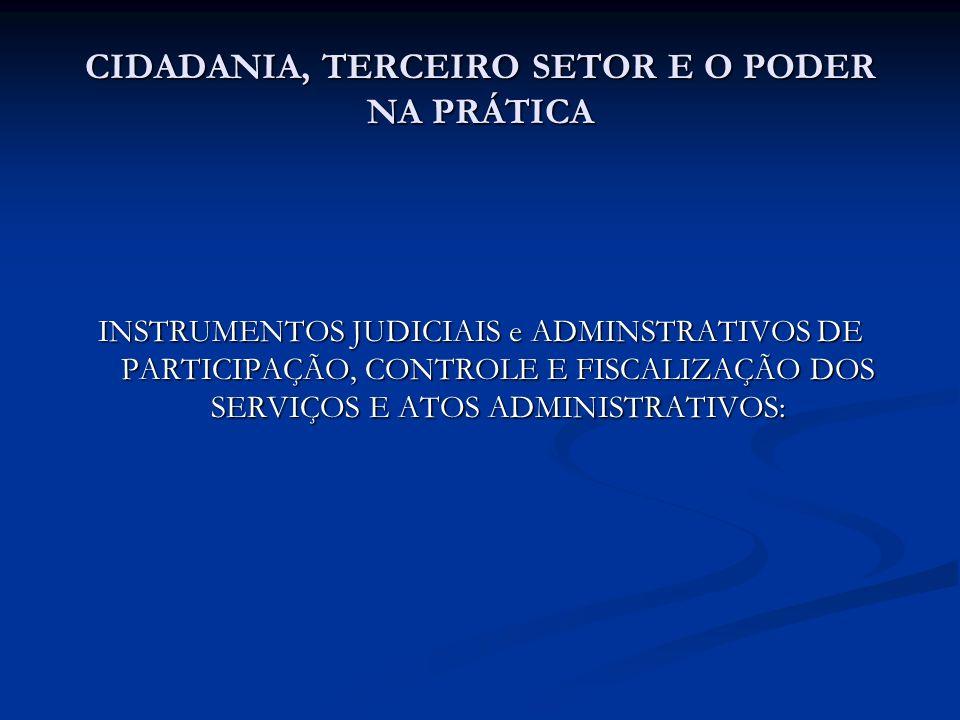 CIDADANIA, TERCEIRO SETOR E O PODER NA PRÁTICA INSTRUMENTOS JUDICIAIS e ADMINSTRATIVOS DE PARTICIPAÇÃO, CONTROLE E FISCALIZAÇÃO DOS SERVIÇOS E ATOS AD