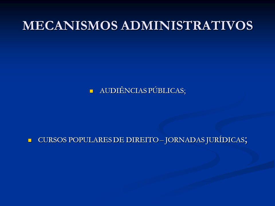MECANISMOS ADMINISTRATIVOS AUDIÊNCIAS PÚBLICAS; AUDIÊNCIAS PÚBLICAS; CURSOS POPULARES DE DIREITO – JORNADAS JURÍDICAS ; CURSOS POPULARES DE DIREITO –