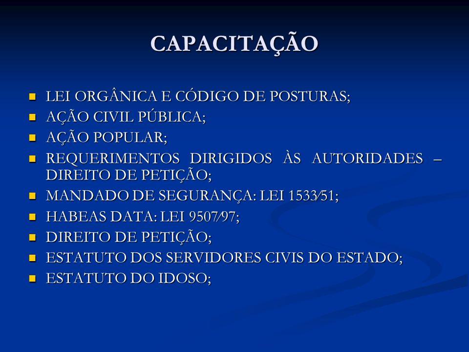 CAPACITAÇÃO LEI ORGÂNICA E CÓDIGO DE POSTURAS; LEI ORGÂNICA E CÓDIGO DE POSTURAS; AÇÃO CIVIL PÚBLICA; AÇÃO CIVIL PÚBLICA; AÇÃO POPULAR; AÇÃO POPULAR;