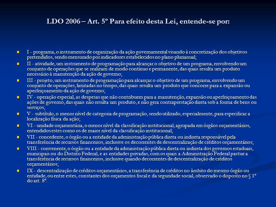 LDO 2006 – Art. 5º Para efeito desta Lei, entende-se por: I - programa, o instrumento de organização da ação governamental visando à concretização dos