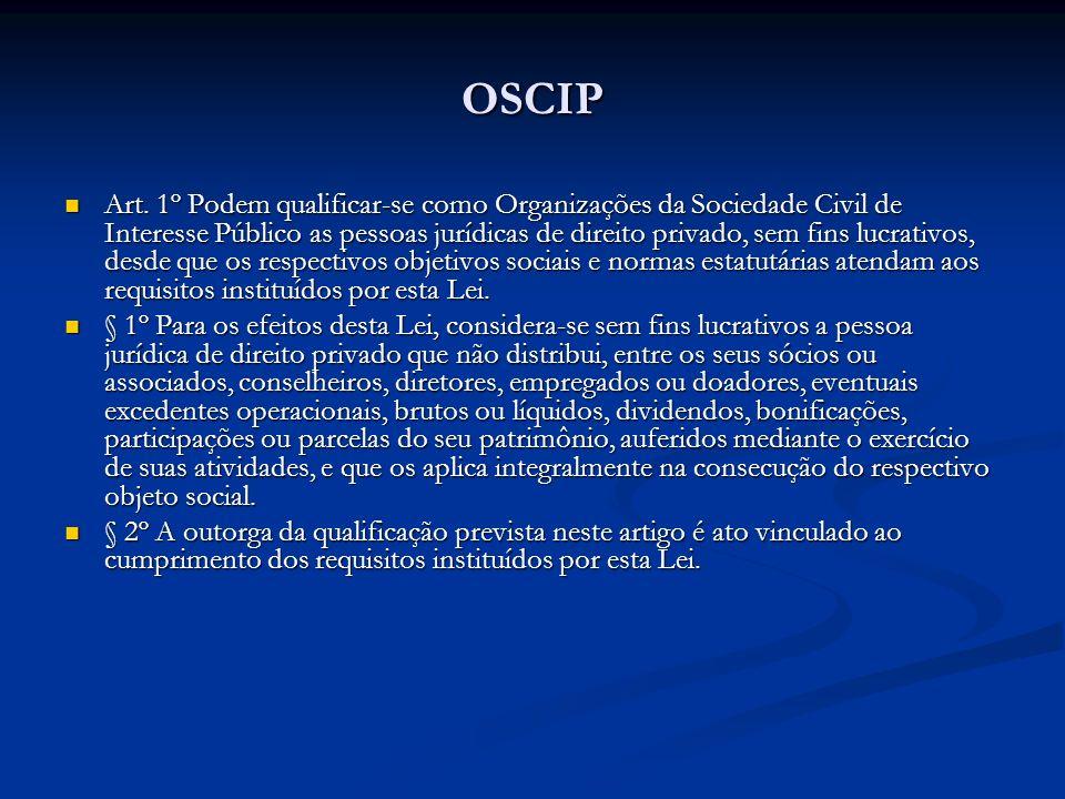 OSCIP Art. 1º Podem qualificar-se como Organizações da Sociedade Civil de Interesse Público as pessoas jurídicas de direito privado, sem fins lucrativ