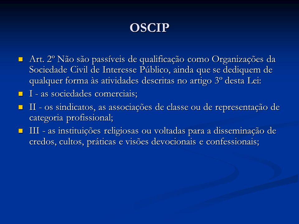 OSCIP Art. 2º Não são passíveis de qualificação como Organizações da Sociedade Civil de Interesse Público, ainda que se dediquem de qualquer forma às