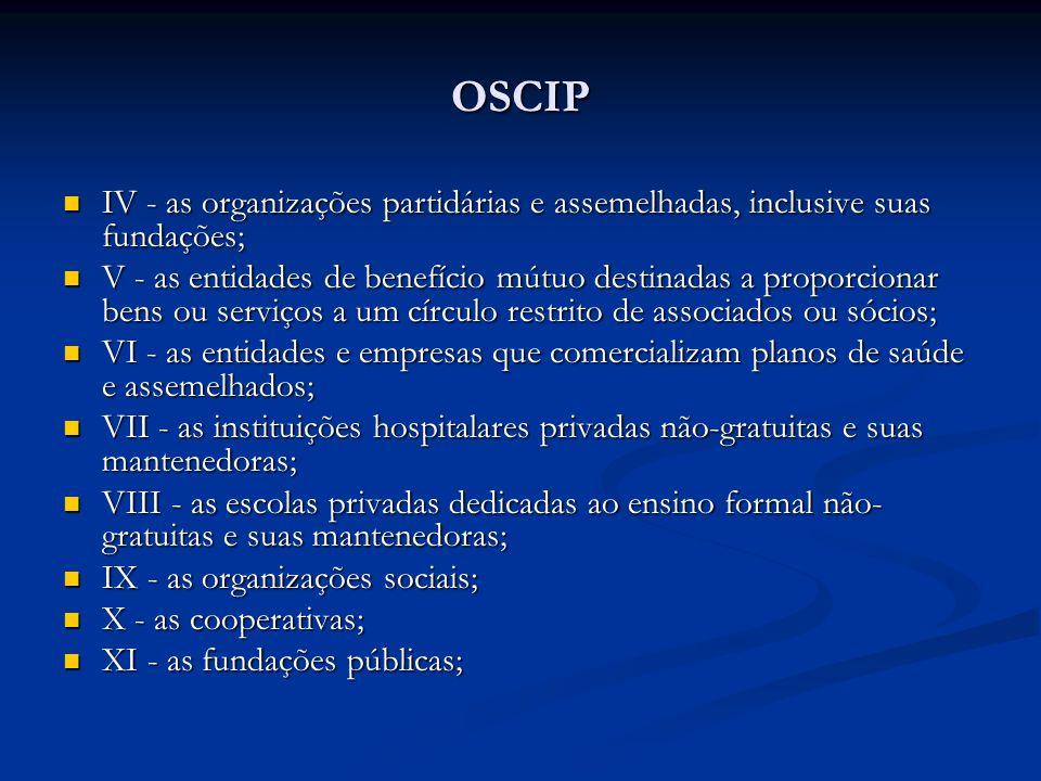 OSCIP IV - as organizações partidárias e assemelhadas, inclusive suas fundações; IV - as organizações partidárias e assemelhadas, inclusive suas funda