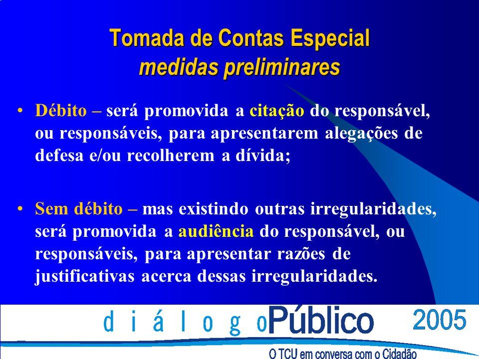 Tomada de Contas Especial medidas preliminares Débito – será promovida a citação do responsável, ou responsáveis, para apresentarem alegações de defes