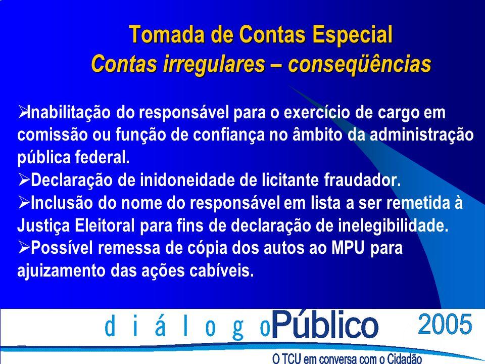 Tomada de Contas Especial Contas irregulares – conseqüências Inabilitação do responsável para o exercício de cargo em comissão ou função de confiança