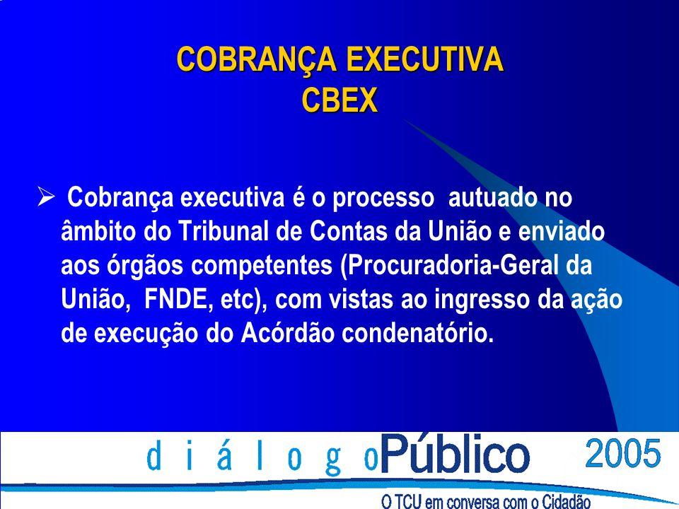 COBRANÇA EXECUTIVA CBEX Cobrança executiva é o processo autuado no âmbito do Tribunal de Contas da União e enviado aos órgãos competentes (Procuradori