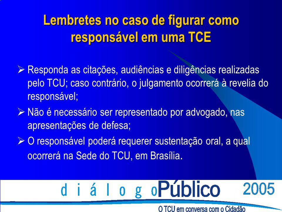 Lembretes no caso de figurar como responsável em uma TCE Responda as citações, audiências e diligências realizadas pelo TCU; caso contrário, o julgame