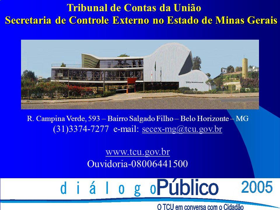 Secretaria de Controle Externo no Estado de Minas Gerais COLOCAR ENDEREÇO DA SECRETARIA R. Campina Verde, 593 – Bairro Salgado Filho – Belo Horizonte
