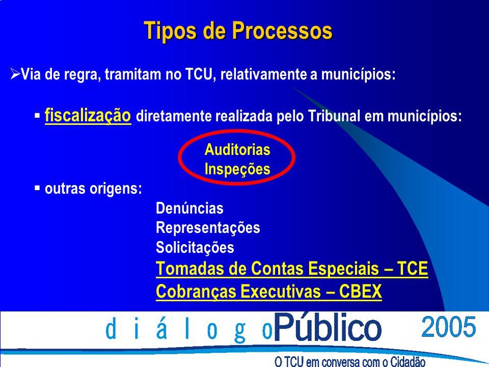 Tipos de Processos Via de regra, tramitam no TCU, relativamente a municípios: fiscalização diretamente realizada pelo Tribunal em municípios: Auditori