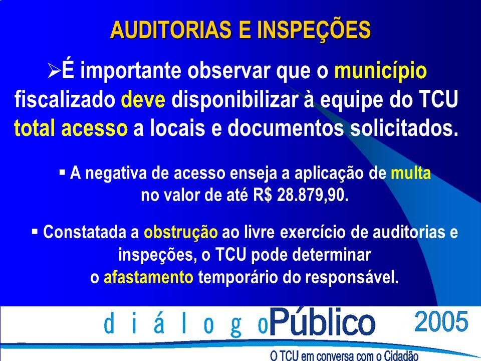 AUDITORIAS E INSPEÇÕES É importante observar que o município fiscalizado deve disponibilizar à equipe do TCU total acesso a locais e documentos solici