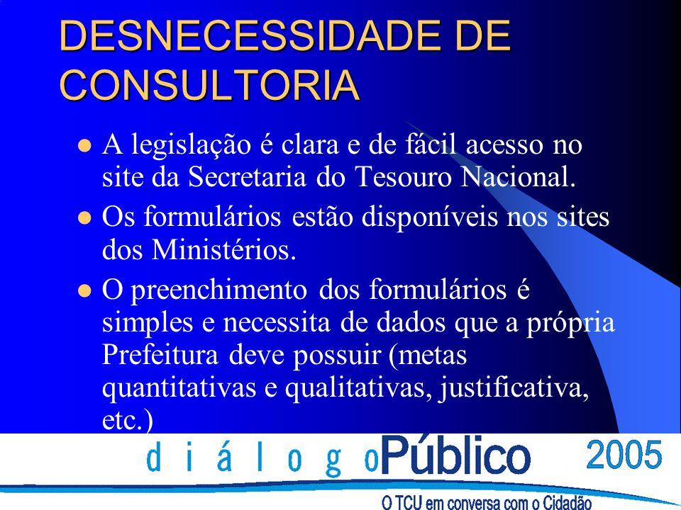 DESNECESSIDADE DE CONSULTORIA A legislação é clara e de fácil acesso no site da Secretaria do Tesouro Nacional.