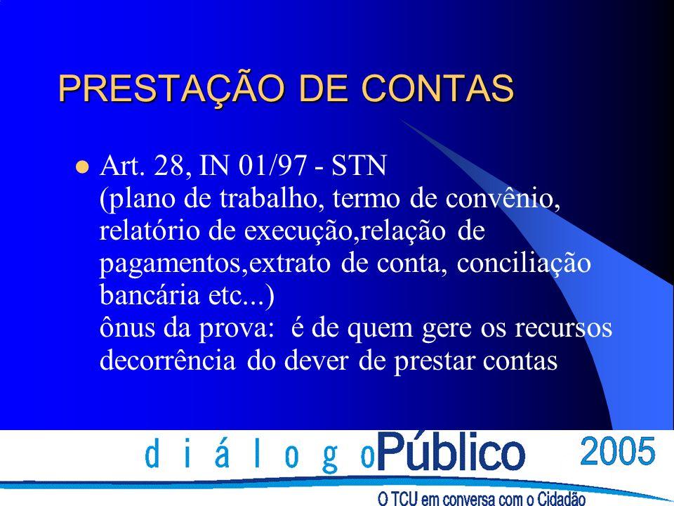 PRESTAÇÃO DE CONTAS Art.