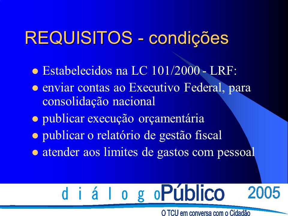 REQUISITOS - condições Estabelecidos na LC 101/2000 - LRF: enviar contas ao Executivo Federal, para consolidação nacional publicar execução orçamentária publicar o relatório de gestão fiscal atender aos limites de gastos com pessoal