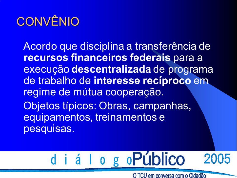 CONVÊNIO Acordo que disciplina a transferência de recursos financeiros federais para a execução descentralizada de programa de trabalho de interesse recíproco em regime de mútua cooperação.