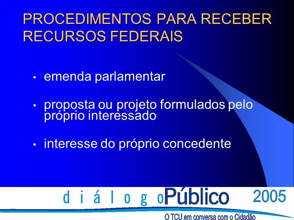 PROCEDIMENTOS PARA RECEBER RECURSOS FEDERAIS emenda parlamentar proposta ou projeto formulados pelo próprio interessado interesse do próprio concedente