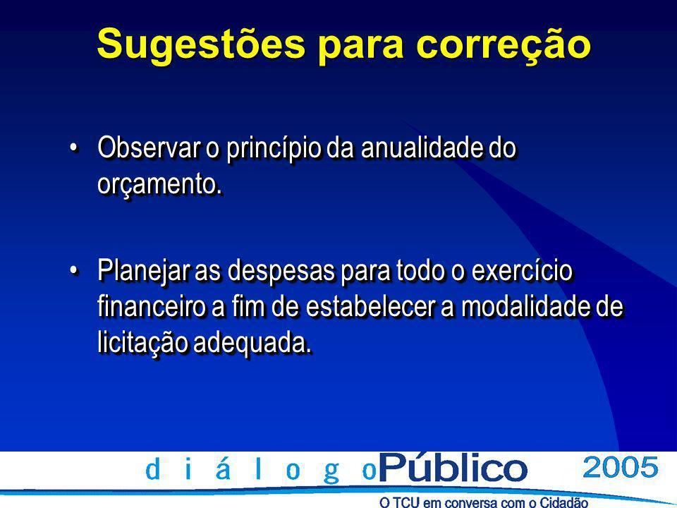 Sugestões para correção Observar o princípio da anualidade do orçamento.Observar o princípio da anualidade do orçamento.