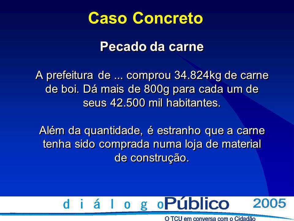 Caso Concreto Pecado da carne A prefeitura de... comprou 34.824kg de carne de boi.