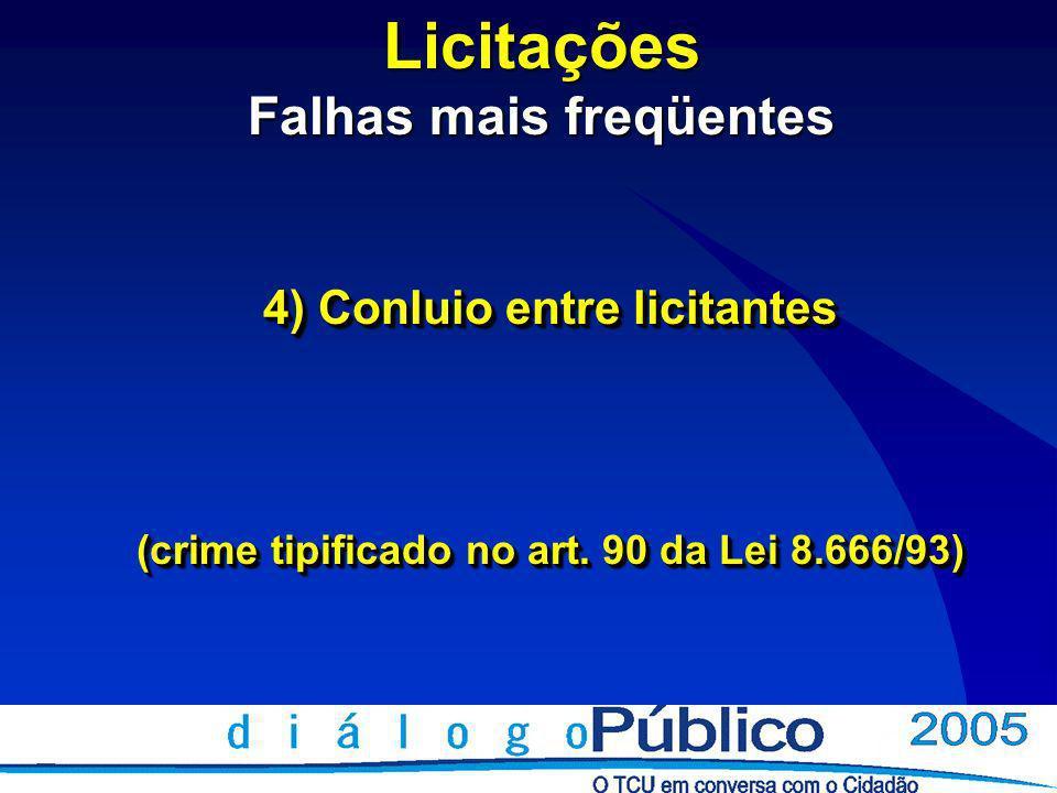 Licitações Falhas mais freqüentes 4) Conluio entre licitantes (crime tipificado no art.