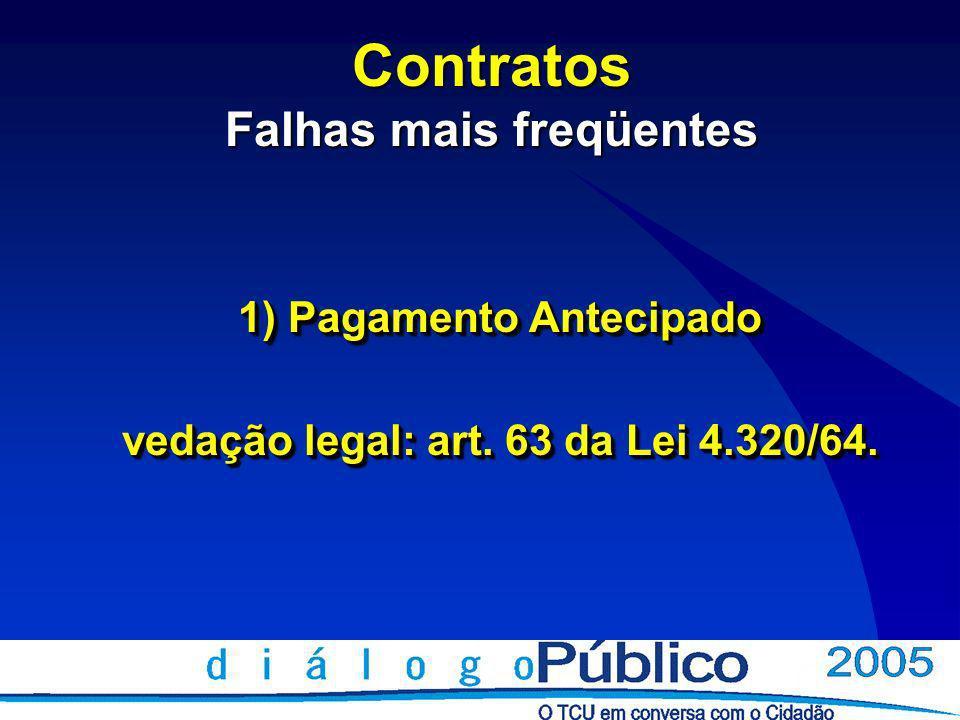 Contratos Falhas mais freqüentes 1) Pagamento Antecipado vedação legal: art.