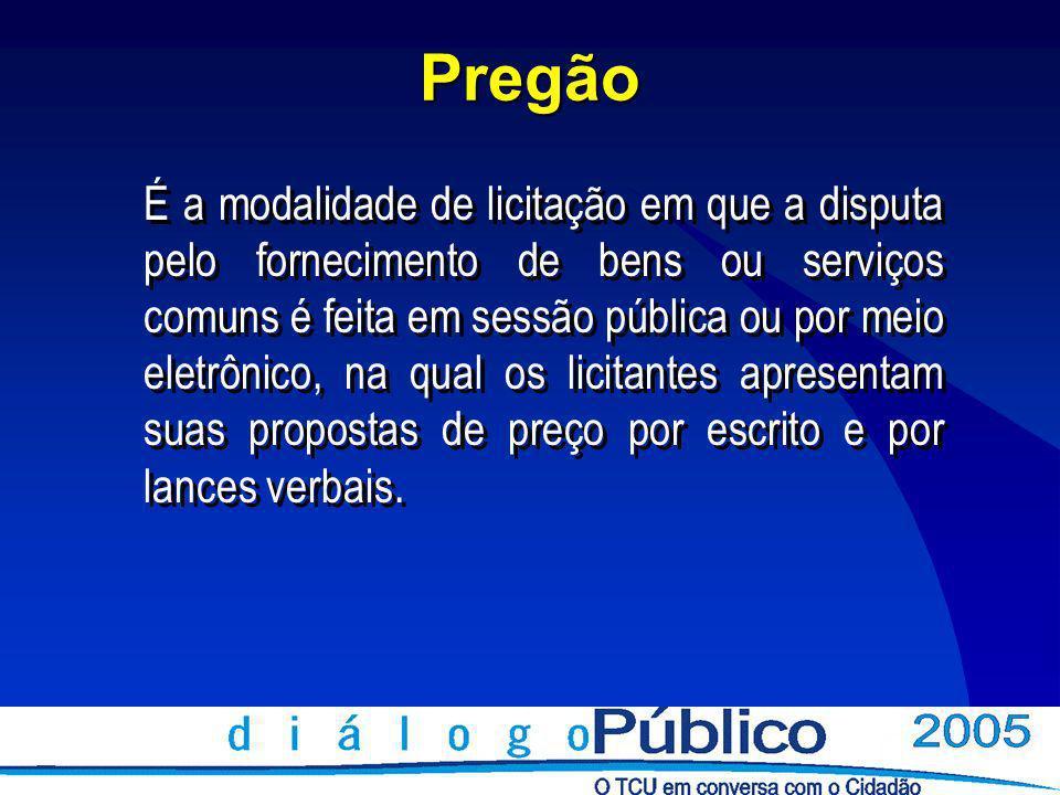 Pregão É a modalidade de licitação em que a disputa pelo fornecimento de bens ou serviços comuns é feita em sessão pública ou por meio eletrônico, na qual os licitantes apresentam suas propostas de preço por escrito e por lances verbais.