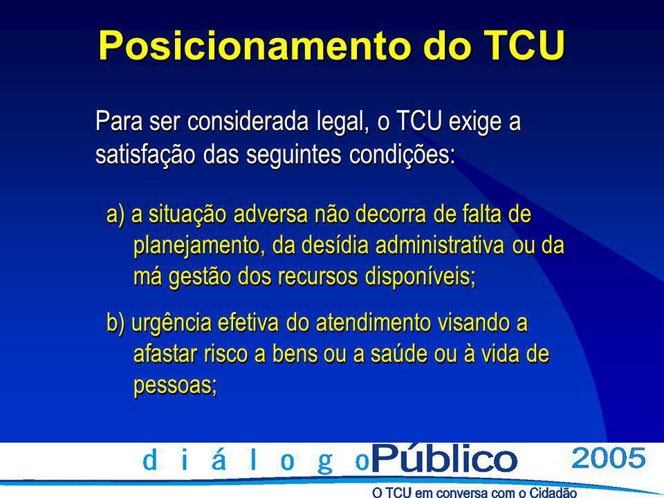 Posicionamento do TCU Para ser considerada legal, o TCU exige a satisfação das seguintes condições (cont.): c) que o risco, além de concreto e efetivamente provável, se mostre iminente e gravoso; d) contratação circunscrita ao atendimento da situação emergencial; e) prazo máximo de 180 dias.