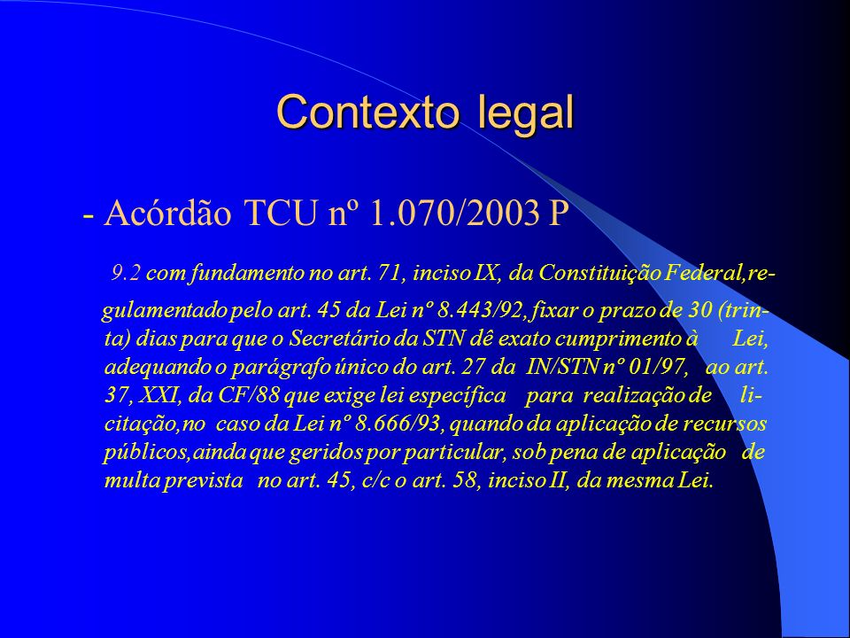 Contexto legal - Acórdão TCU nº 1.070/2003 P 9.2 com fundamento no art.