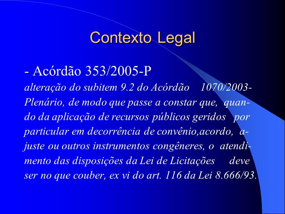 Contexto Legal - Acórdão 353/2005-P alteração do subitem 9.2 do Acórdão 1070/2003- Plenário, de modo que passe a constar que, quan- do da aplicação de recursos públicos geridos por particular em decorrência de convênio,acordo, a- juste ou outros instrumentos congêneres, o atendi- mento das disposições da Lei de Licitações deve ser no que couber, ex vi do art.