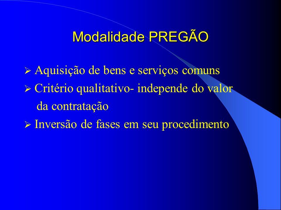Modalidade PREGÃO Aquisição de bens e serviços comuns Critério qualitativo- independe do valor da contratação Inversão de fases em seu procedimento