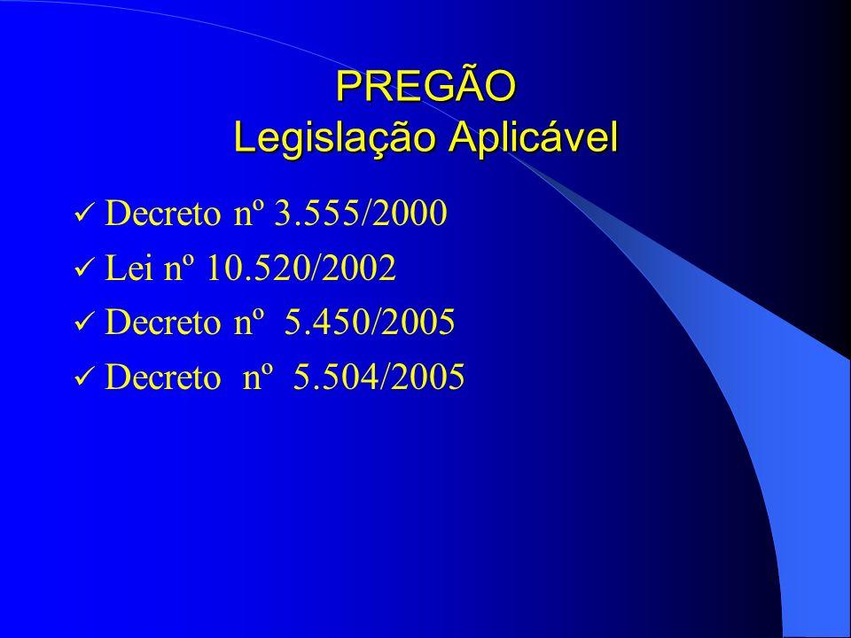 PREGÃO Legislação Aplicável Decreto nº 3.555/2000 Lei nº 10.520/2002 Decreto nº 5.450/2005 Decreto nº 5.504/2005