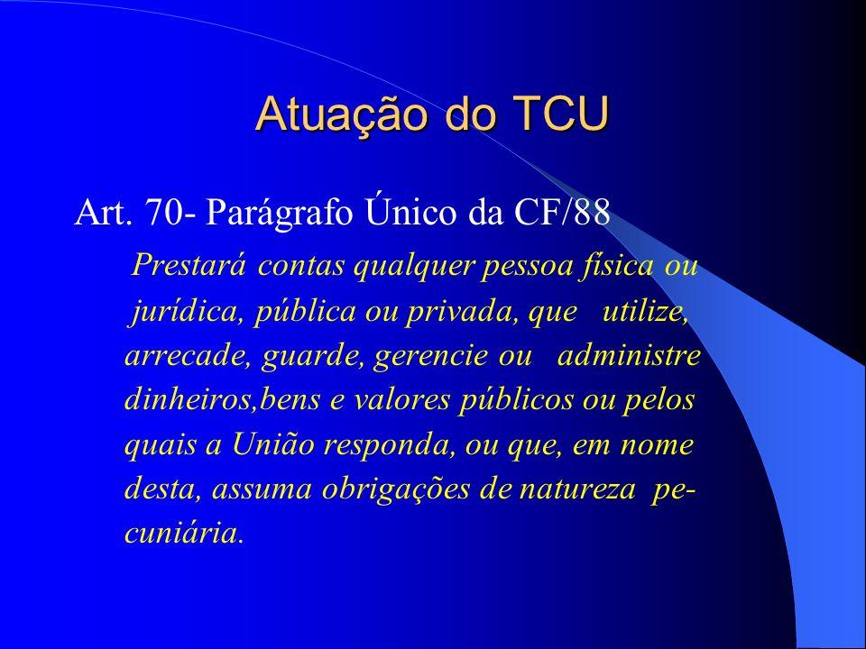Atuação do TCU Art. 70- Parágrafo Único da CF/88 Prestará contas qualquer pessoa física ou jurídica, pública ou privada, que utilize, arrecade, guarde