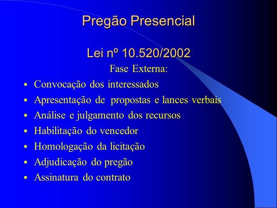 Pregão Presencial Lei nº 10.520/2002 Fase Externa: Convocação dos interessados Apresentação de propostas e lances verbais Análise e julgamento dos recursos Habilitação do vencedor Homologação da licitação Adjudicação do pregão Assinatura do contrato