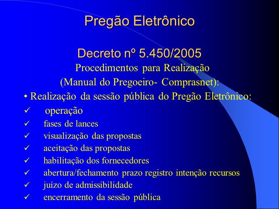 Pregão Eletrônico Decreto nº 5.450/2005 Procedimentos para Realização (Manual do Pregoeiro- Comprasnet): Realização da sessão pública do Pregão Eletrô