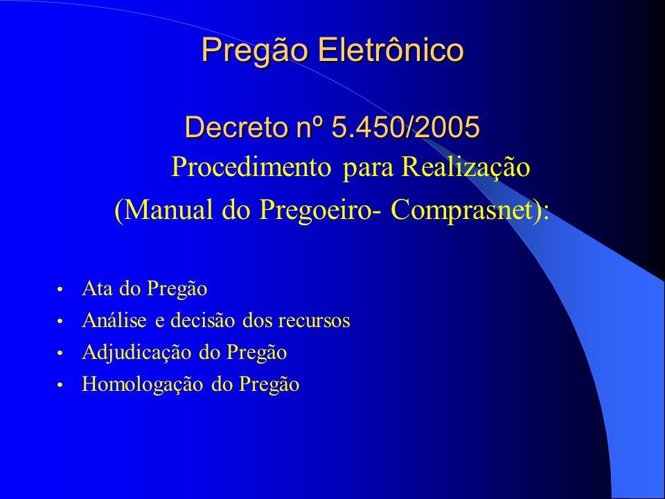 Pregão Eletrônico Decreto nº 5.450/2005 Procedimento para Realização (Manual do Pregoeiro- Comprasnet): Ata do Pregão Análise e decisão dos recursos A
