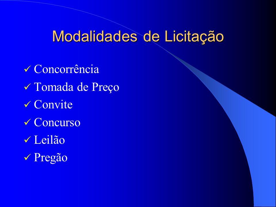 Modalidades de Licitação Concorrência Tomada de Preço Convite Concurso Leilão Pregão