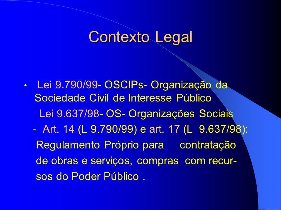 Contexto Legal Lei 9.790/99- OSCIPs- Organização da Sociedade Civil de Interesse Público Lei 9.637/98- OS- Organizações Sociais - Art. 14 (L 9.790/99)