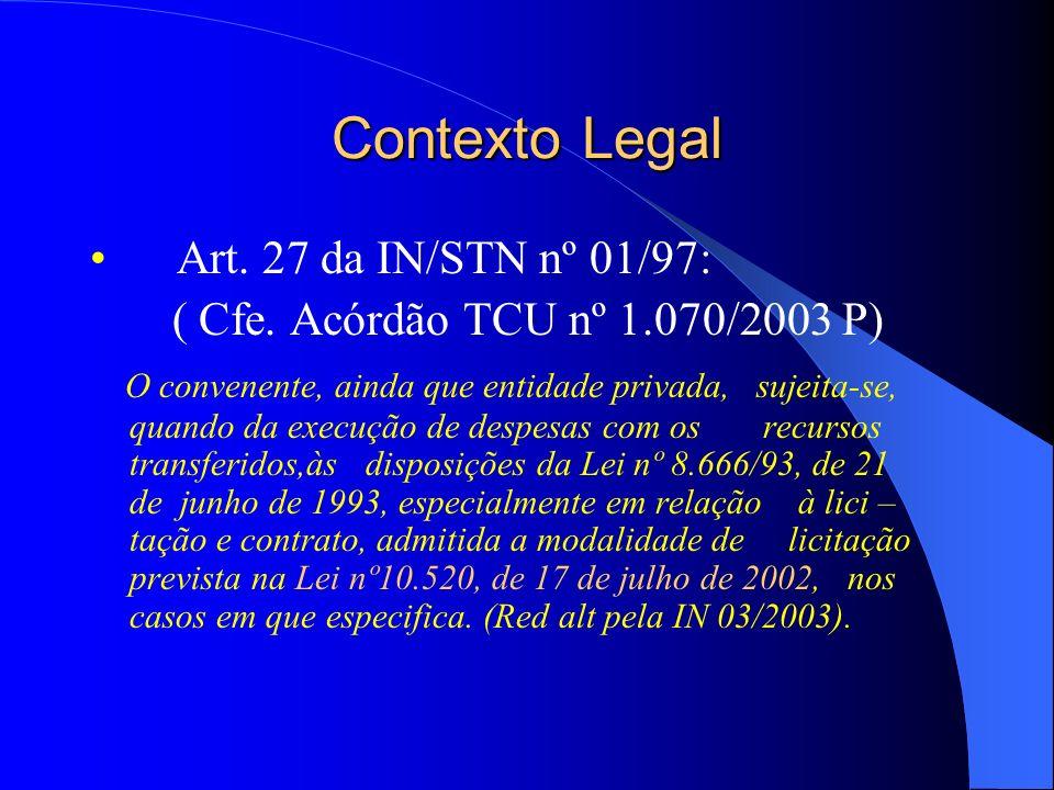 Contexto legal - Acórdão TCU nº 1.070/2003 P 9.2 com fundamento no art.