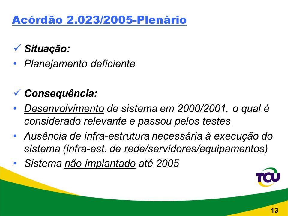 Acórdão 2.023/2005-Plenário Situação: Planejamento deficiente Consequência: Desenvolvimento de sistema em 2000/2001, o qual é considerado relevante e passou pelos testes Ausência de infra-estrutura necessária à execução do sistema (infra-est.