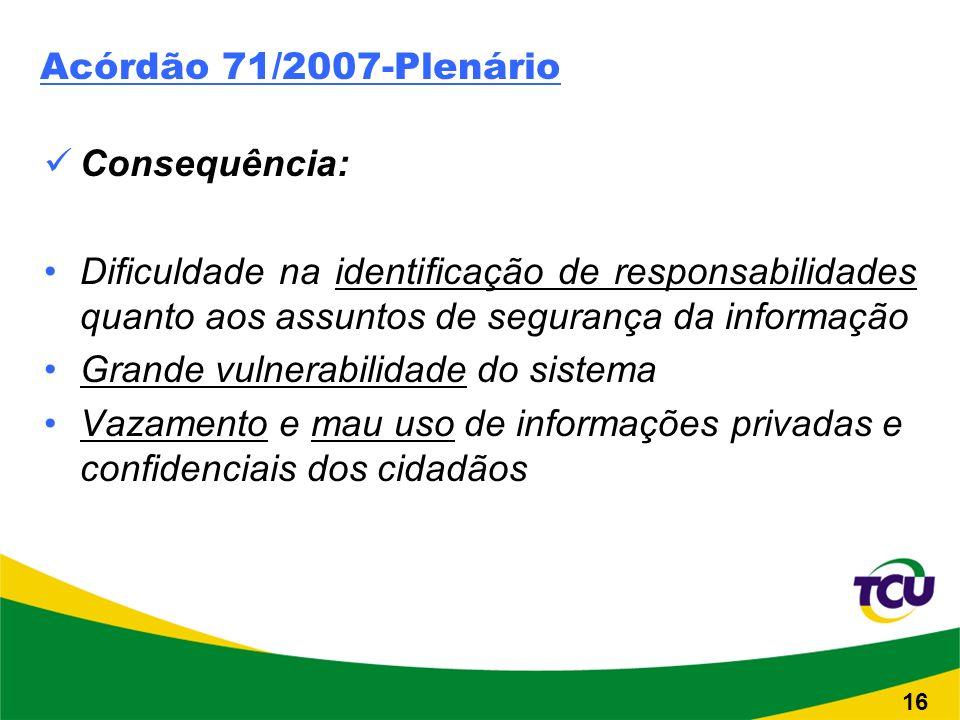Acórdão 71/2007-Plenário Consequência: Dificuldade na identificação de responsabilidades quanto aos assuntos de segurança da informação Grande vulnerabilidade do sistema Vazamento e mau uso de informações privadas e confidenciais dos cidadãos 16