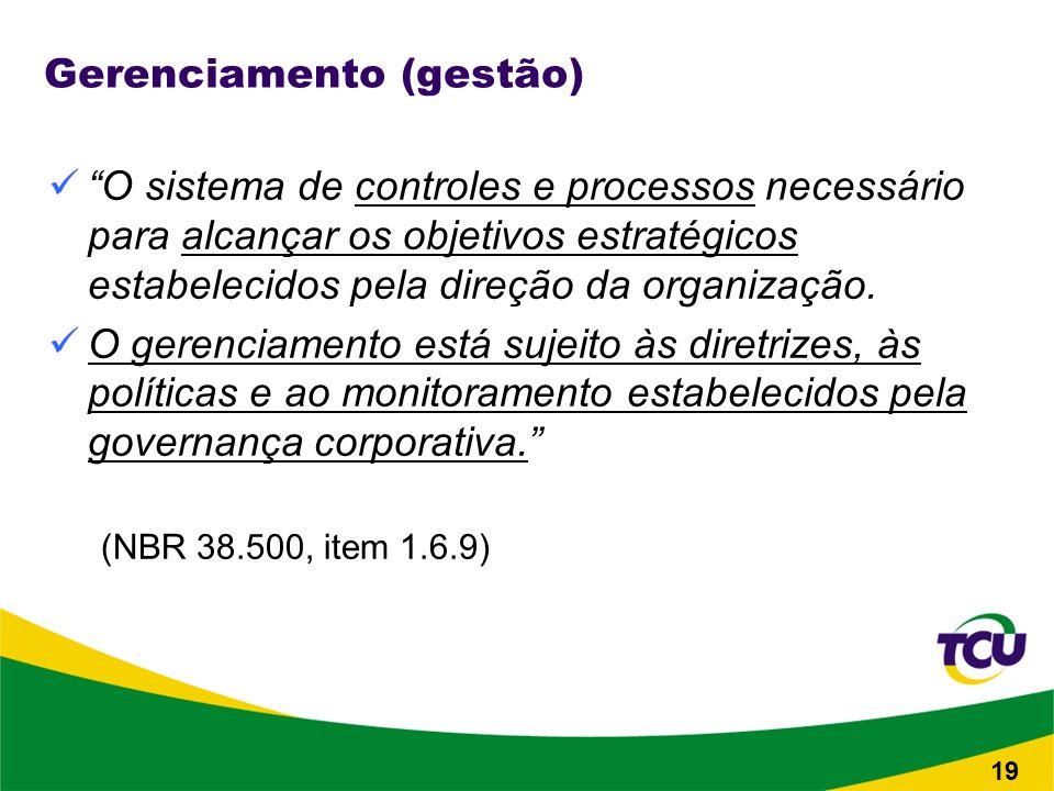 19 Gerenciamento (gestão) O sistema de controles e processos necessário para alcançar os objetivos estratégicos estabelecidos pela direção da organização.