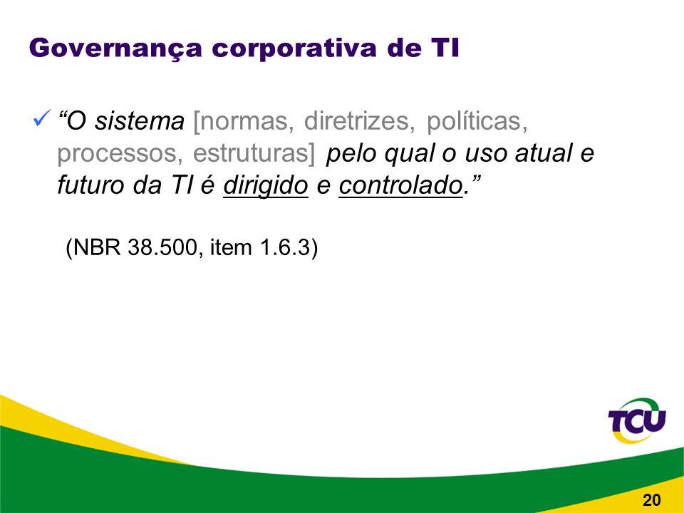 20 Governança corporativa de TI O sistema [normas, diretrizes, políticas, processos, estruturas] pelo qual o uso atual e futuro da TI é dirigido e controlado.