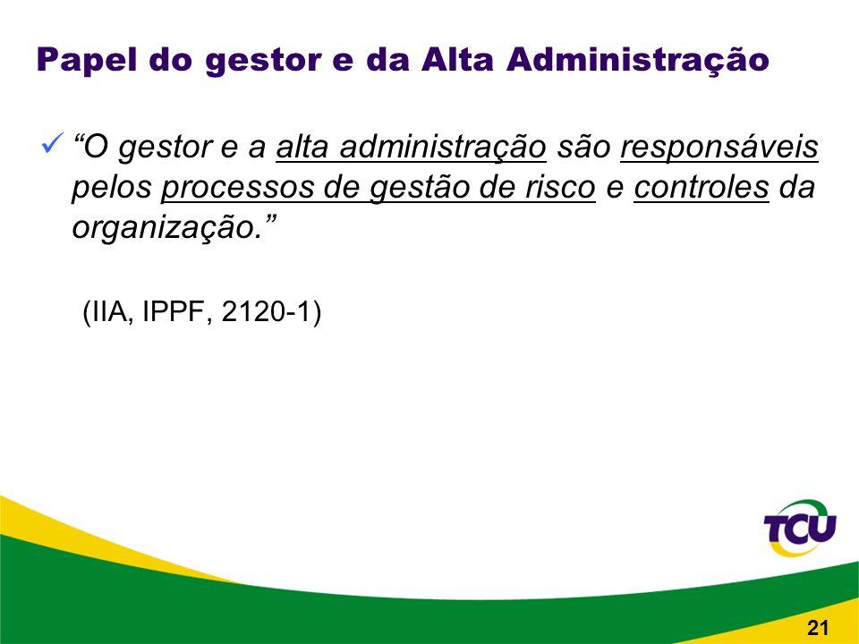 Papel do gestor e da Alta Administração O gestor e a alta administração são responsáveis pelos processos de gestão de risco e controles da organização.