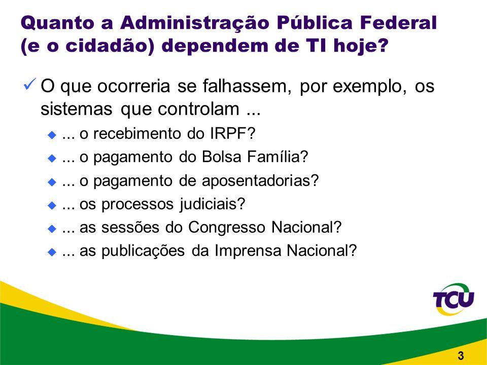 Quanto a Administração Pública Federal (e o cidadão) dependem de TI hoje.