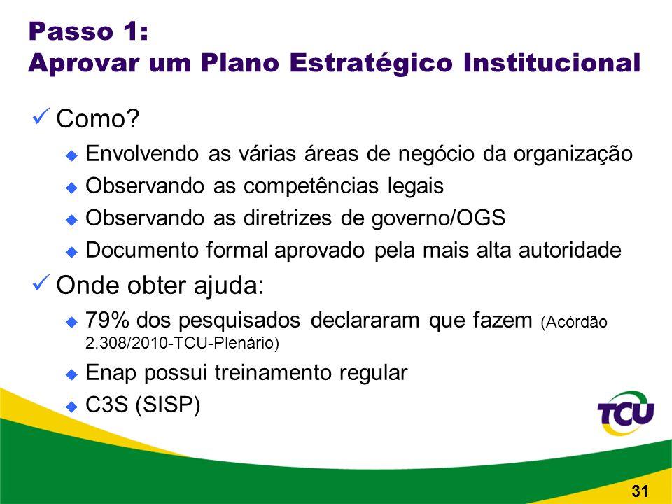 Passo 1: Aprovar um Plano Estratégico Institucional Como.