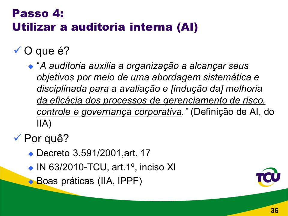 Passo 4: Utilizar a auditoria interna (AI) O que é.