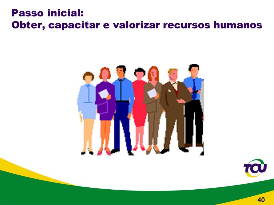 Passo inicial: Obter, capacitar e valorizar recursos humanos 40